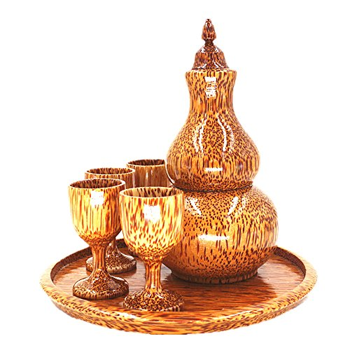 baibaishun bricolage Chine de noix de coco en bois à découper Art avec pot de vin pour boire du vin, décoration de la maison ou cadeau unique, rouge, marron