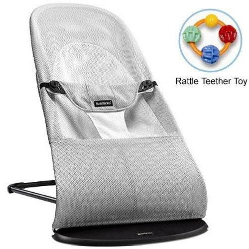 Baby-Bjorn-005029US-Bouncer-Balance-Soft-Mesh-Silver-White-with-Rattle-Teether-Toy