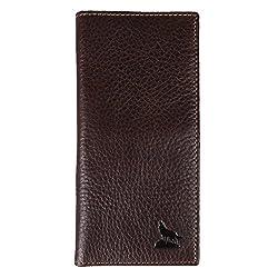 Kattee Men's Genuine Leather Wolf Embossed Long Bifold Wallet