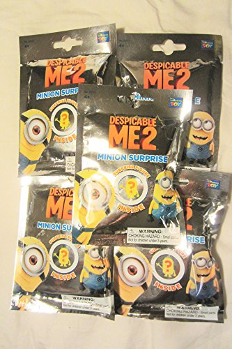 """Despicable Me2 Minions Mystery Mini Figures """"5 Individual Packs"""" with Mystery Figures"""