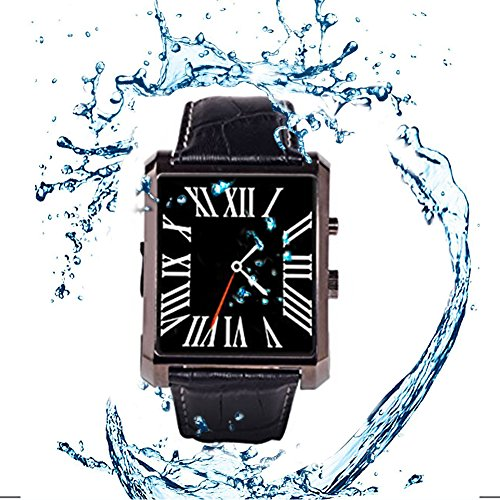 """Qkking Deluxe Edition Calfskin Belt Waterproof 1.5"""" 1.3MP Bluetooth 4.0 Smart Watch DM08 WristWatch with Full HD IPS Display for Android & IOS (Iphone) with Camera Recorder Pedometer Sleep Monitoring-Black"""