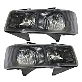 Driver and Passenger Composite Headlights Headlamps Replacement for Chevrolet GMC Van 15879433 25758558