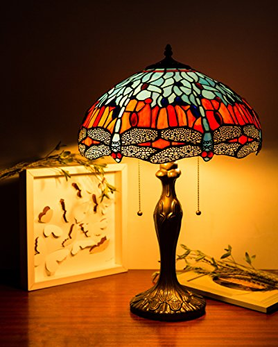 Dragonfly Tiffany floor Lamp Desk Lamp Living room and bedroom boys and girls bedroom (Small Stained Glass Lamp Shade compare prices)