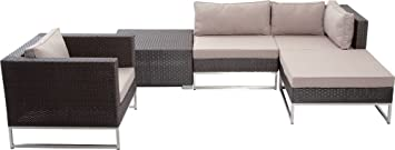 Mirage and Polyrattan Lounge Furniture Set 5 Pieces Aluminium