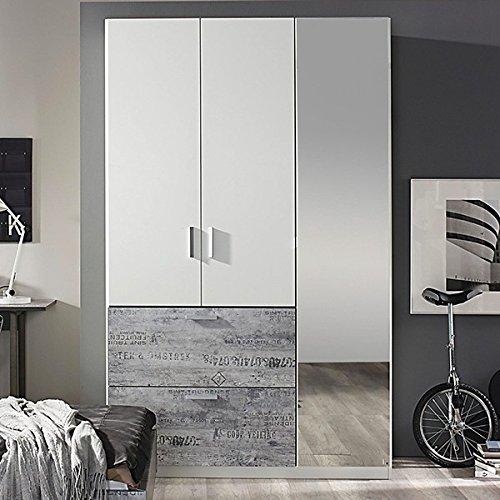 Kleiderschrank weiß / grau 3 Türen B 136 cm vintage-grau Schrank Drehtürenschrank Wäscheschrank Spiegelschrank Kinderzimmer Jugendzimmer jetzt bestellen