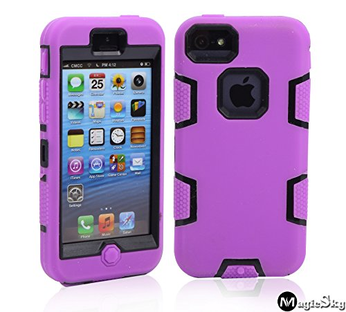5C Case, Iphone 5C Case Cover, Magicsky Full Body Hybrid Impact Shockproof Defender Case Cover For Apple Iphone 5C, 1 Pack(Black/Purple)