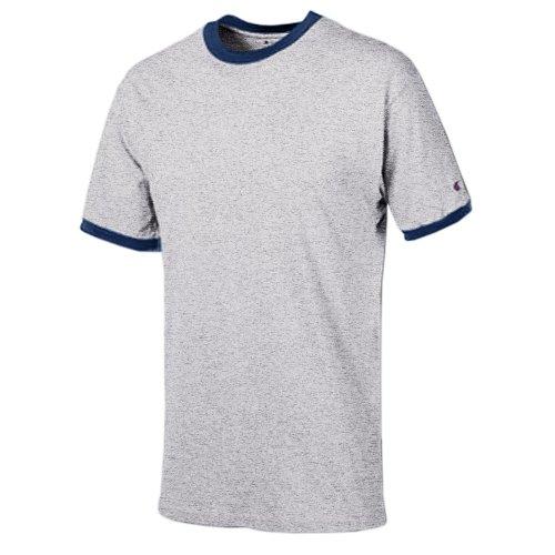Champion Ringer T-Shirt, Oxford Gray/Navy, M