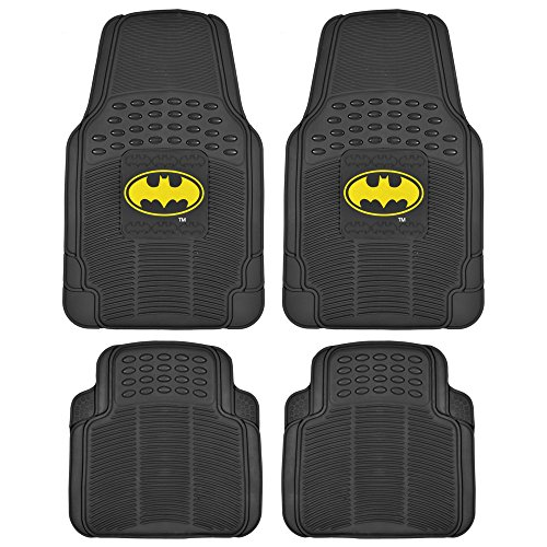 BDK WBMT-1372+MT-802-BK_AMZCJ2 Black Car Floor Mat (Batman Rubber, 4 PC Front Heavy Duty All Weather Protection - Trimmable To fit) (4 Pc Car Mats compare prices)