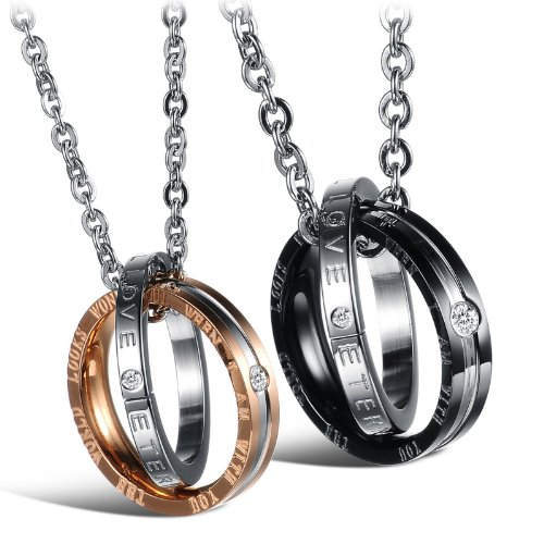 His & Hers Matching Set Titanium Stainless Steel Couple Pendant Necklace Korean Love Style in a Gift Box (One Pair)