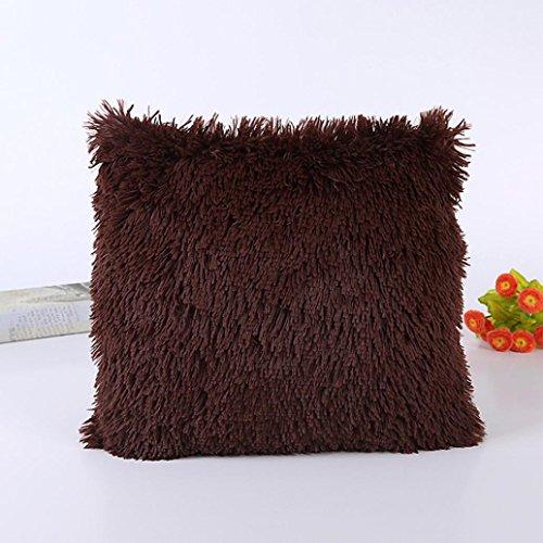 Kissenbezüge Longra Hauptdekoration Kissenbezug Sofakissen Werfen Kissen Abdeckung Plüsch(45cm*45cm/18*18inch) (Brown) -