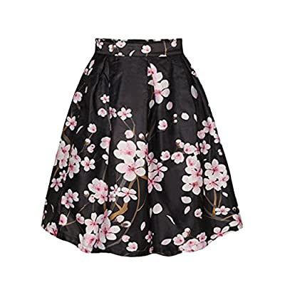Women Summer Dress Casual High Waist Black Cherry Blossom Print Skirt Fashion Lonk Skirt For Women
