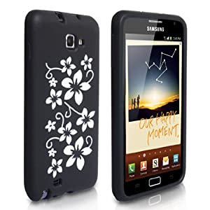 Yousave Accessories TM Black And White Floral Silicone Case Cover For The Samsung Galaxy Note