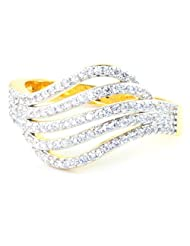 SUPERSHINE GOLD PLATED RING FASHION JEWELRY WITH AMERICAN DIAMONDS SIZE 8 US NO 10762G