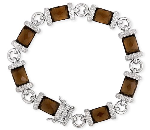 Faceted Simulated Smoked Topaz .925 Sterling Silver Bracelet (Nice Holiday Gift, Special Black Firday Sale)
