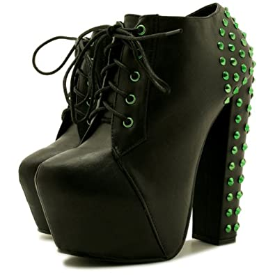 stiefeletten ankle boots schuhe blockabsatz plateau schn r. Black Bedroom Furniture Sets. Home Design Ideas