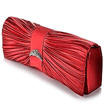 New Pleated Satin Crystal Evening Prom Clutch Bag Wedding Bridal Purse (Red)