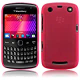 BLACKBERRY CURVE 9370/9360/9350 RUBBERISED TRANSPARENT BACK COVER CASE - HOT PINK, WITH QUBITS-BRANDED MICROFIBER CLEANING CLOTH