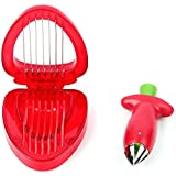 Strawberry Combo Set Of Strawberry Slicer & Stainless Steel Cutter Huller Tomato Corers Stem Remover For Salad