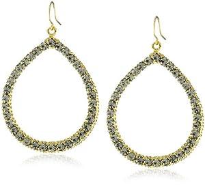 Yochi Black Diamond-Colored Crystal Embellished 14k Gold-Plated Hoop Earrings