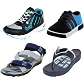 Earton COMBO Pack Of 4 Sports Shoe With Casual Shoe, Sandal & Slipper