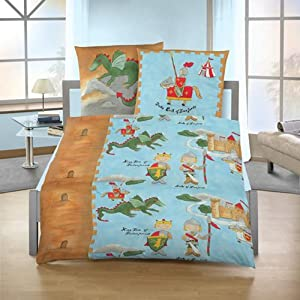 dobnig 5004 parure de lit flanelle enfant bleu motif chevalier et dragon cuisine. Black Bedroom Furniture Sets. Home Design Ideas