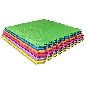 Sivan Health and Fitness® Puzzle Exercise Mat Colorful High Quality EVA Foam Interlocking Tiles