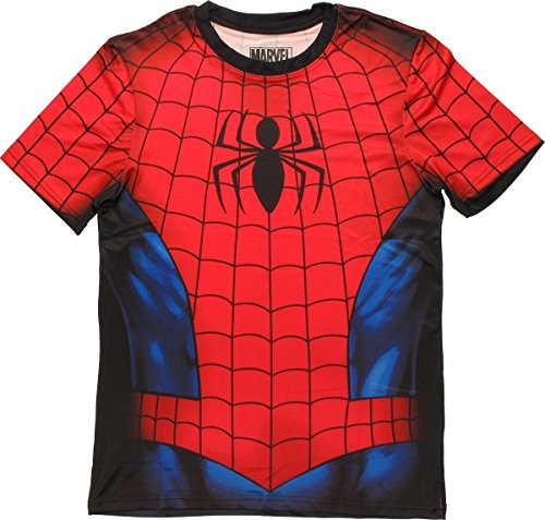 Marvel Comics Mens Spiderman Spidey Shaba Athletic T-Shirt (Multi-Colored)