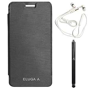 DMG Hot Pressed Durable Flip Cover For Panasonic Eluga A (Black) + White Earphones + Stylus