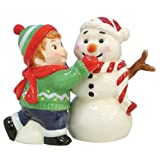 Westland Giftware Mwah Magnetic Boy Making Snowman Salt and Pepper Shaker Set, 3-1/2-Inch