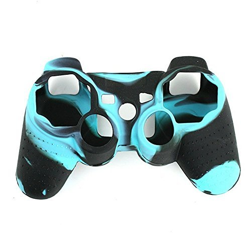 Yansanido easy to remove and washable Anti-Slip Silicone Case Skin Protector Cover for Playstation 3 Dualshock Wireless Game Controllers camo blue black (Custom Controller Covers compare prices)