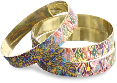 Chamak by priya kakkar Set of 3 Printed Enamel Bangle Bracelet