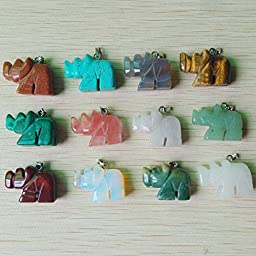 Fashion Carved Natural Stone Mixed Rhinoceros Charms Pendants 12Pcs