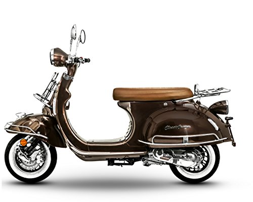 Znen - Scooter Classic Cruiser, stile rétro, 25 km/h, 50 ccm, colore: marrone scuro