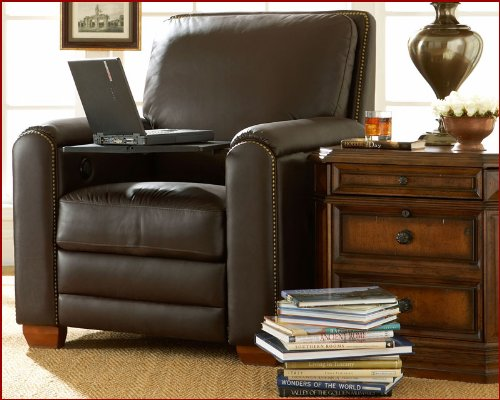 Aspen Leather Recliner w/Motor & Table Richmond ASL10-RD-661711M