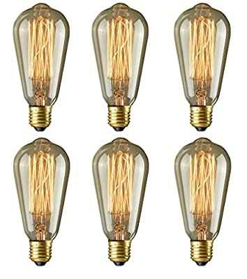 160 Lumens Vintage Edison Bulb - 6 Pack - ST64 - Squirrel Cage Filament - Dimmable