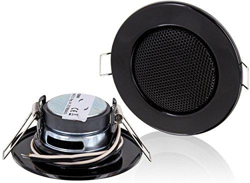 Einbau-Lautsprecher-Vollmetall-3W--80mm-Einbau--60mm-Klemm-Montage-Niederohm-Technik-fr-Wand-und-Decke-Halogen-Design-schwarz