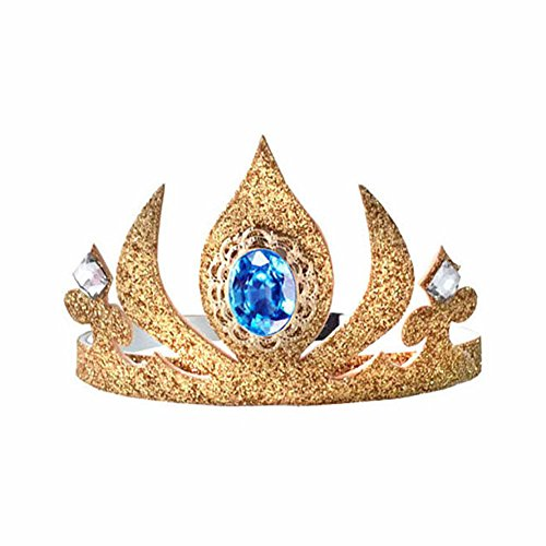 Elsa Costume Gold Sparkle Coronation Tiara Crown Comfortable, Non Slip Headband