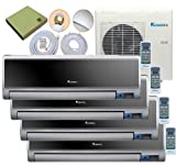 4 Zone Multi Split 4 x 12,000 Btu Ductless Wall Mount - DC Inverter Air Conditioner-Heat Pump-16 SEER-220 V with Complete Quick Installation Kit Set of 4