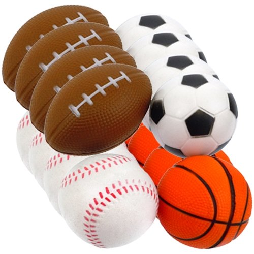 Lot Of 12 Assorted Sports Ball Stress Squeeze Balls - 1