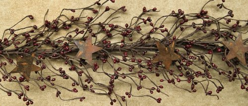 CWI Gifts Pip Berry and Star Garland, 40-Inch, Burgundy