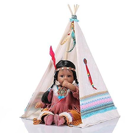 Nicery Réincarné bébé Poupée Doux Silicone Vinyle Indien Peau noire 20pouces 50cm qui semble vivant Garçon Fille Jouet Tente Blanc