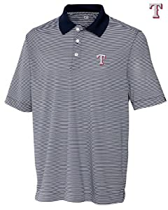 Texas Rangers Mens DryTec Trevor Stripe Shirt Navy Blue Heather by Cutter & Buck