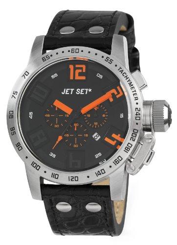 Jet Set - J27581-517 - San Remo - Montre Homme - Quartz Chronographe - Cadran Noir - Bracelet Cuir Noir