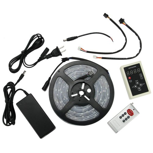 Xkttsueercrr(Tm) Full Kit Waterproof 5M Ic6803 5050 Dream Magic Rgb Led Strip 133 Color Change + Rf Remote Controller + 12V 6A Power Supply Adapter