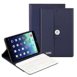 Coo iPad Mini 1 2 3 Bluetooth Keyboard Case with 360 Degree Rotation & Multi-angel Stand(Dark Blue)