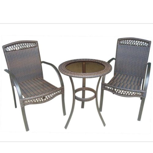 Soho 3 Piece Wicker Bistro Table and Chairs Set picture