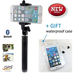 GPS Travel Selfie Stick Premium Quality Excellent Phone Compatibility Portable Design Built-in Bluetooth Remote Control Extended Battery Life Phone-Waterproof Case-bag Inclusive (Gold)