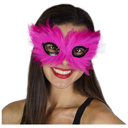 Zucker Feather Products 3D Hackle Decorative Mask, Shocking Pink/Black
