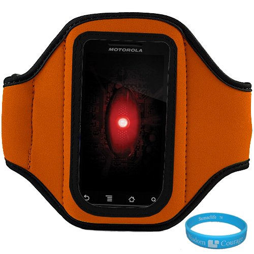 Durable Moisture Resistant Premium Neoprene Protective Multi Purpose Exercise Workout Armband with Adjustable Velcro Strap for HTC Inspire 4G Wireless Android Smartphone by AT&T + SumacLife TM Wisdom Courage Wristband