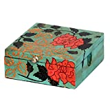 Surface180 Wooden Hand Painted Box With Metel Nob - (13 X 13 X 5 Cm)